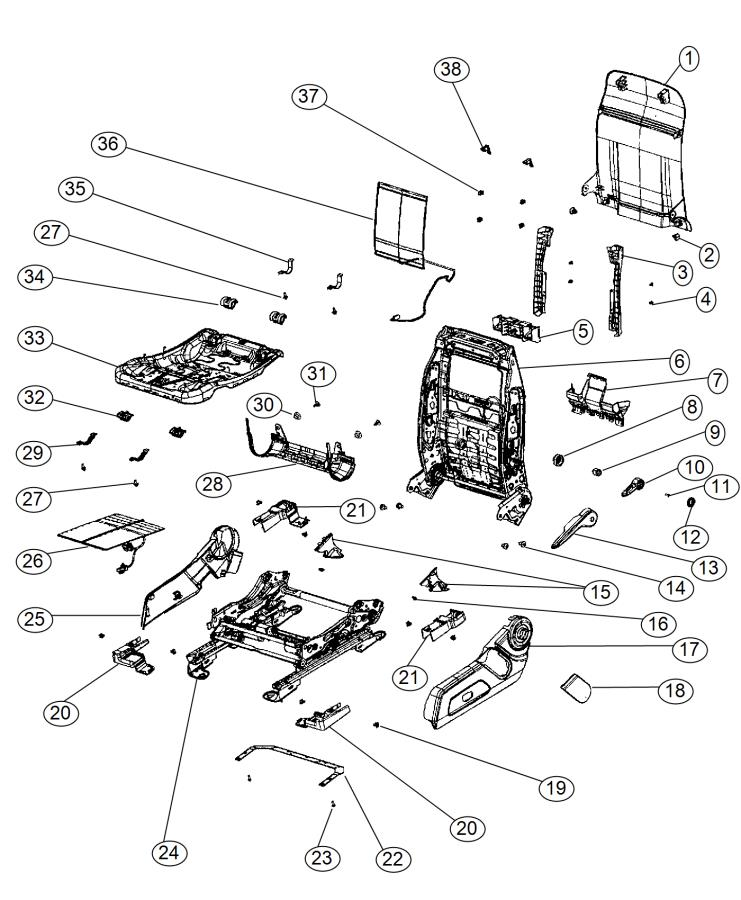 jeep patriot rear seat diagram