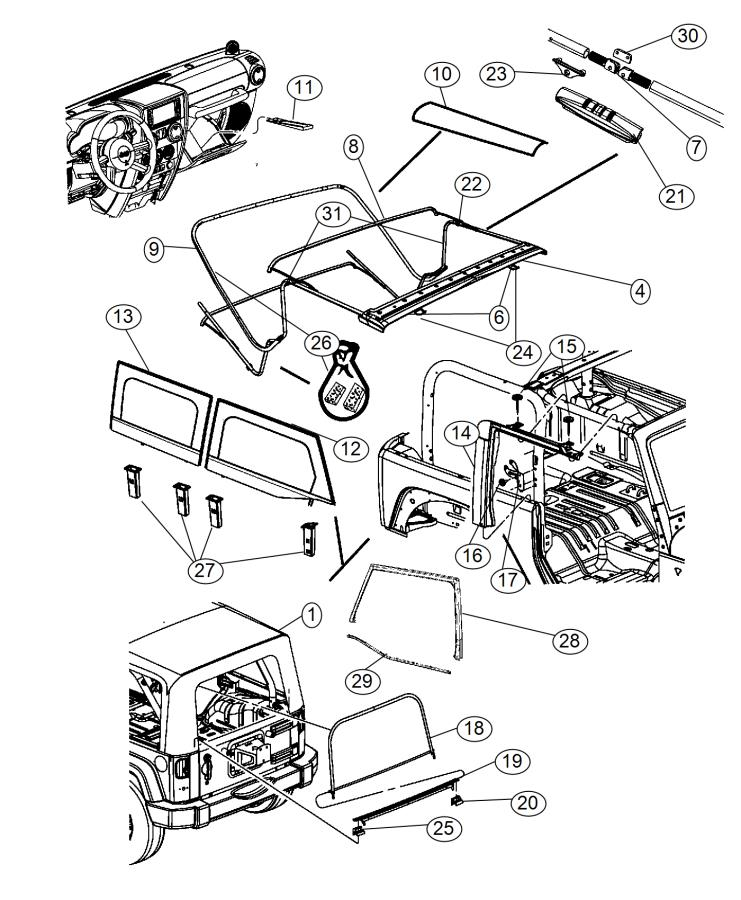 2011 jeep wrangler soft top diagram of parts