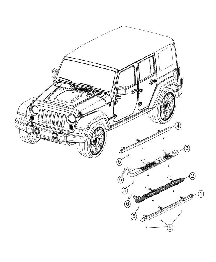 2012 Jeep Wrangler Sill  Left  Body Side  Rock Rail   Mmu