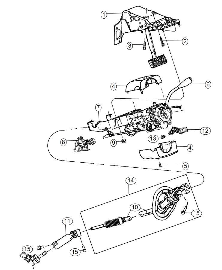 2012 dodge ram 1500 shaft  lower  steering column