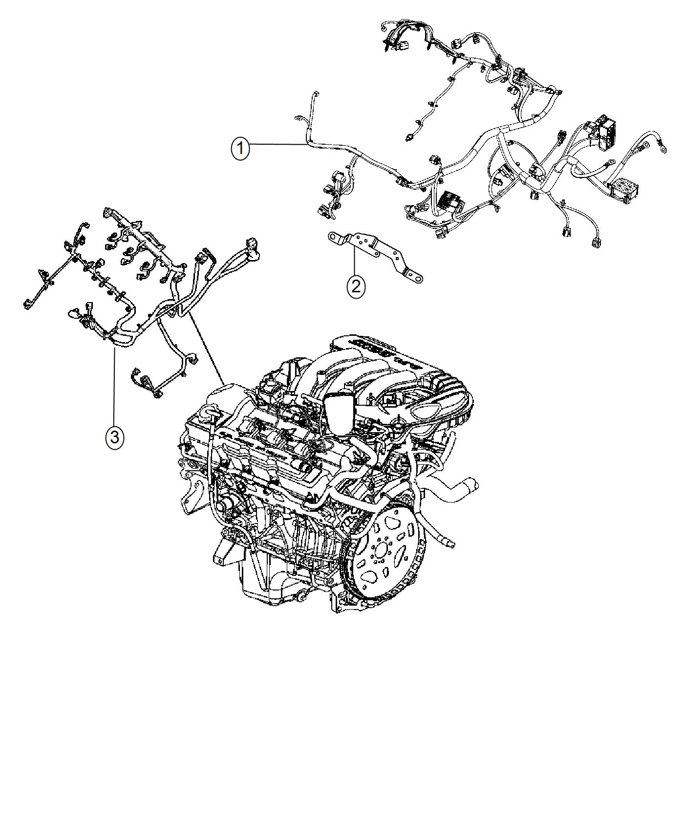 2016 Dodge Journey Wiring  Engine  Includes Transmission Harness  Includes Transmission
