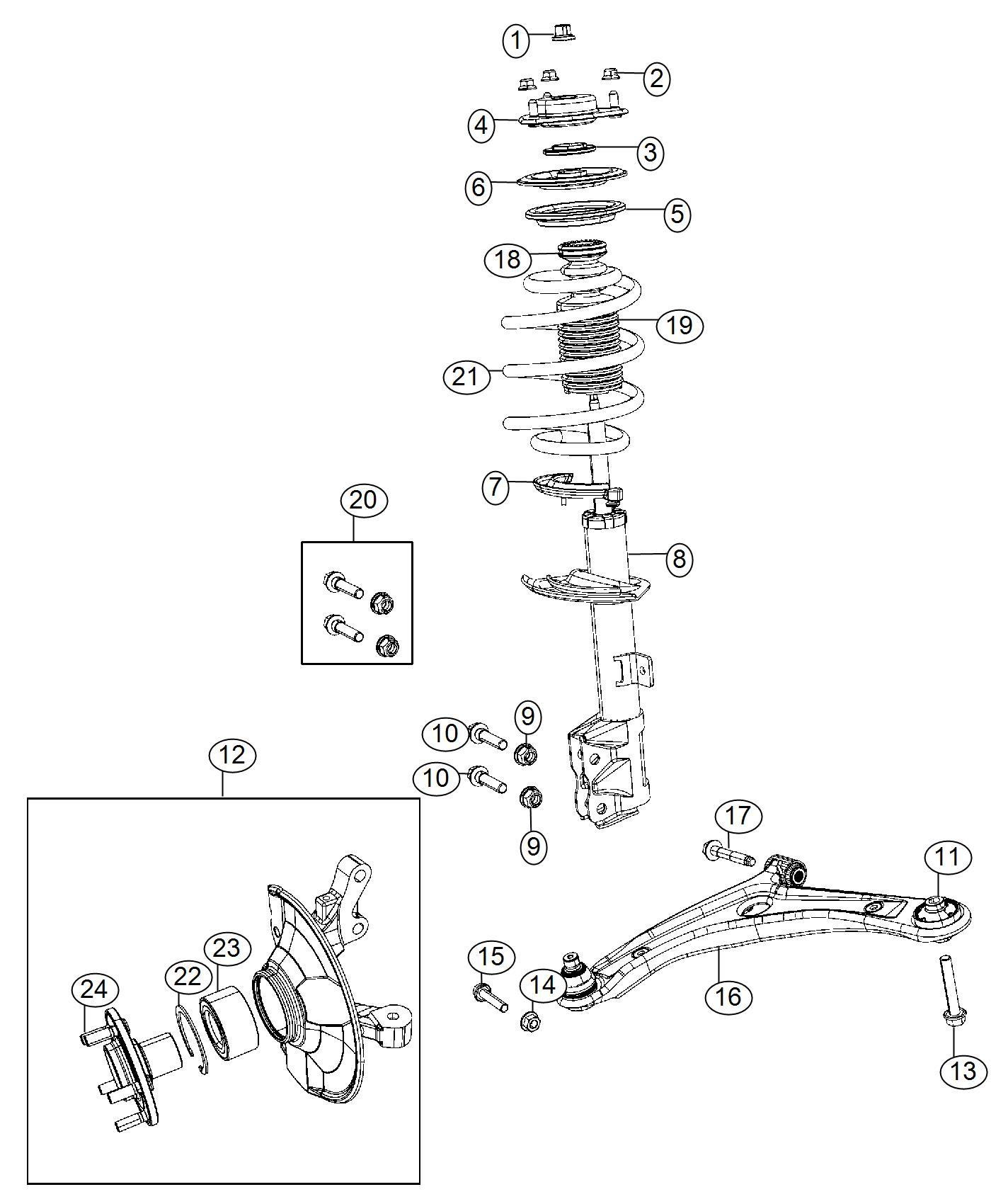 2014 jeep patriot strut  right  front suspension   sdf