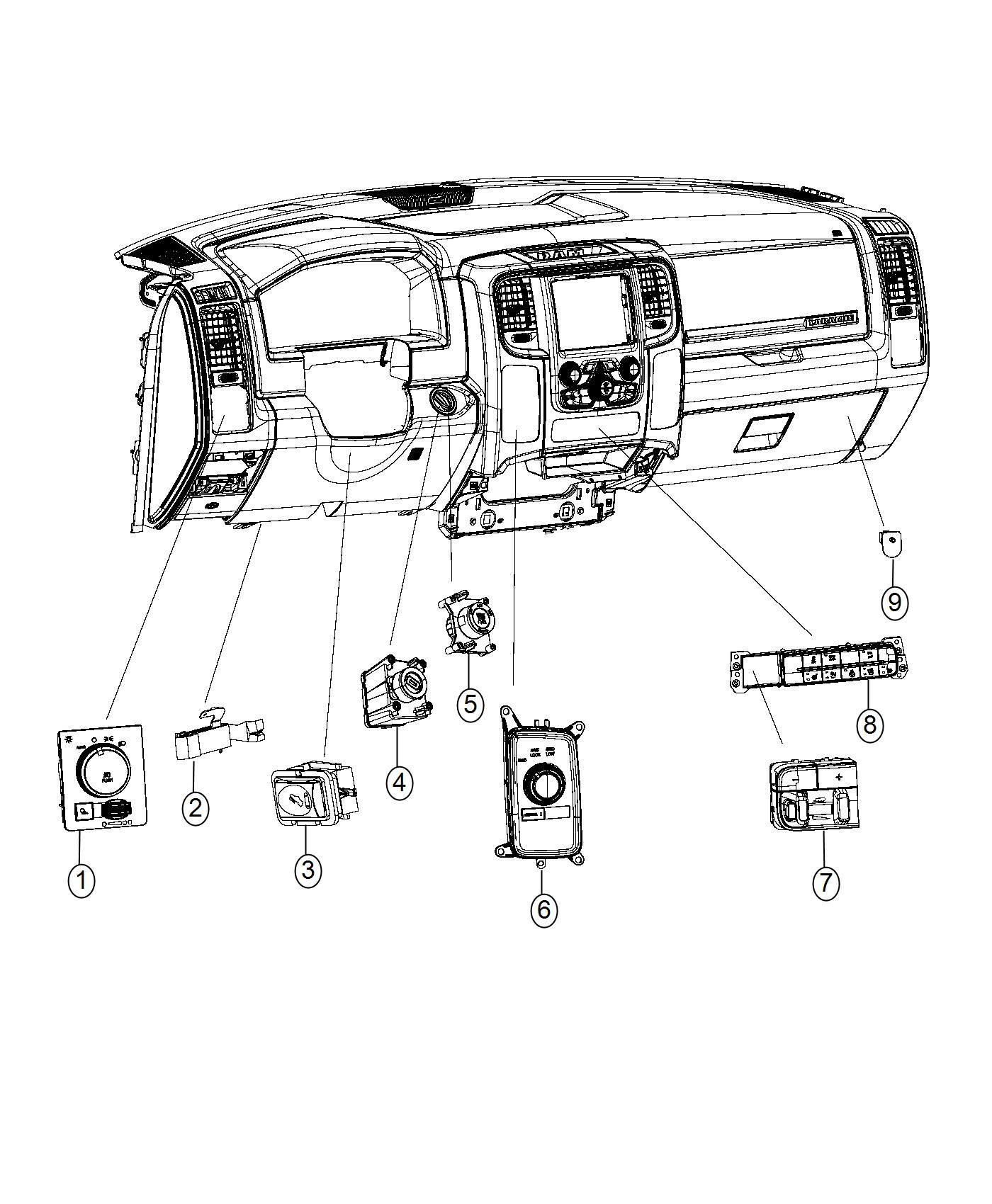 dodge ram 3500 switch  instrument panel  heated  front  diesel