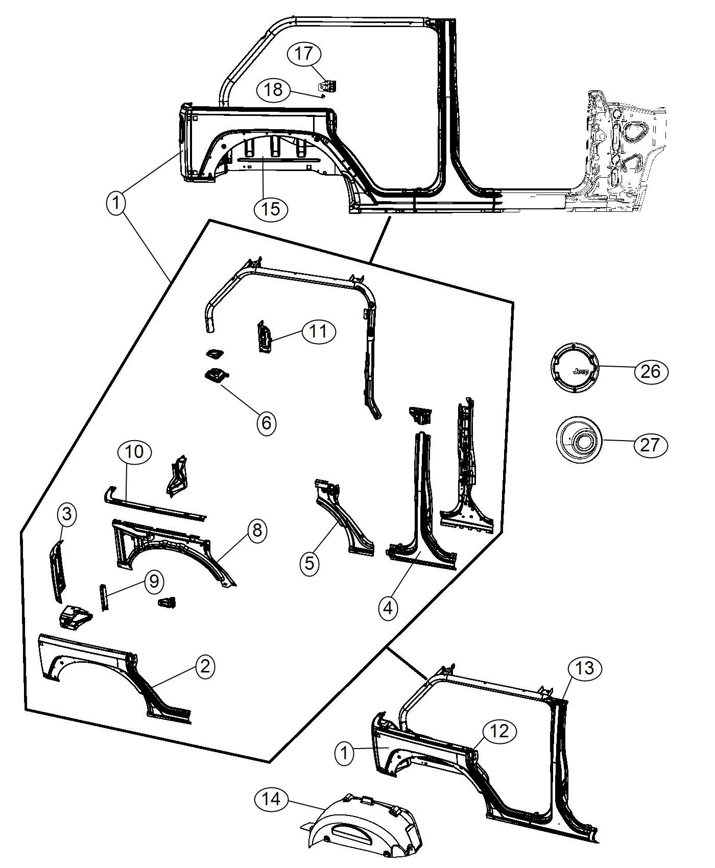 2014 Jeep Wrangler Panel  Right  Rear Corner  Body