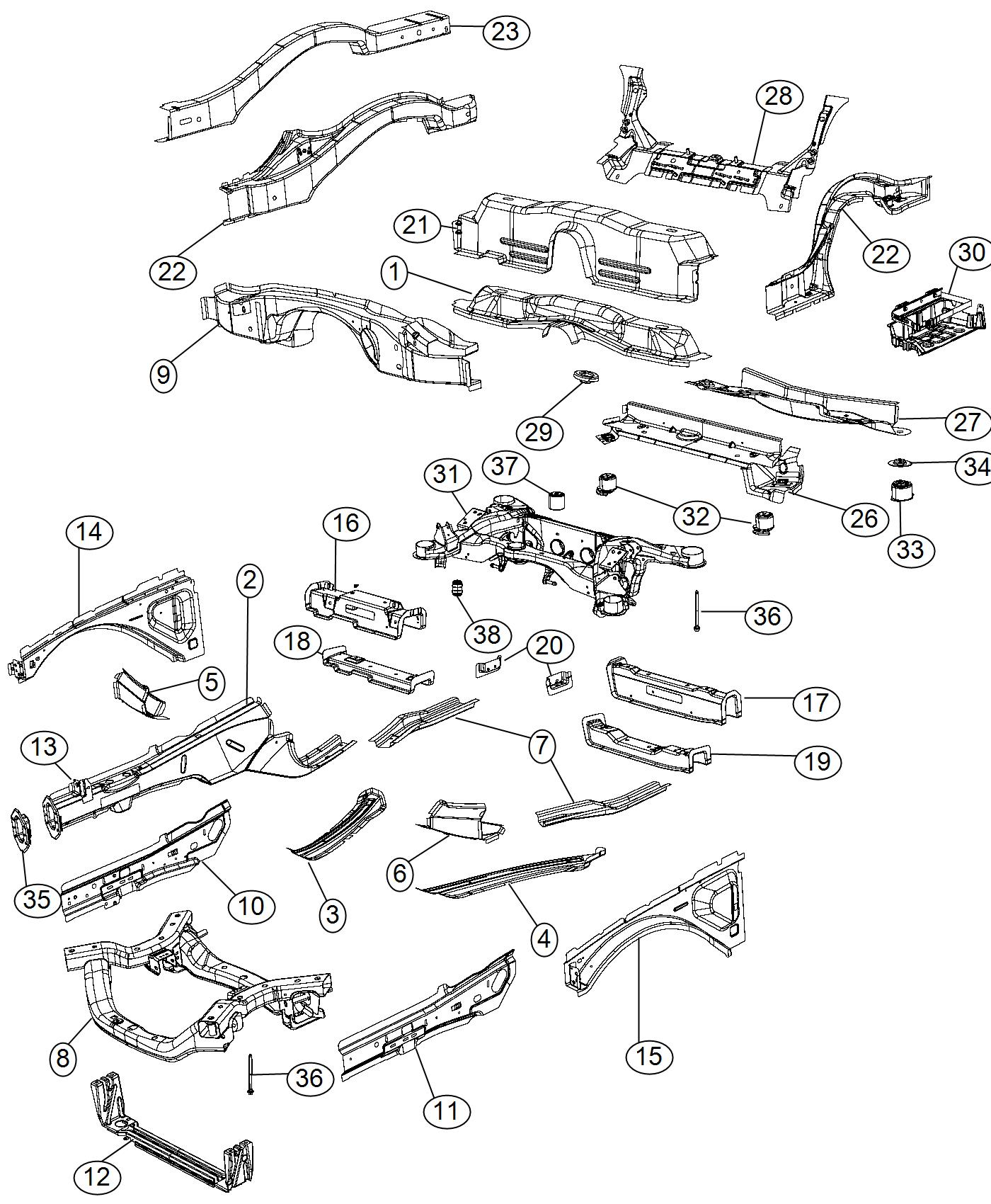 2010 dodge challenger extension  right  crossmember end