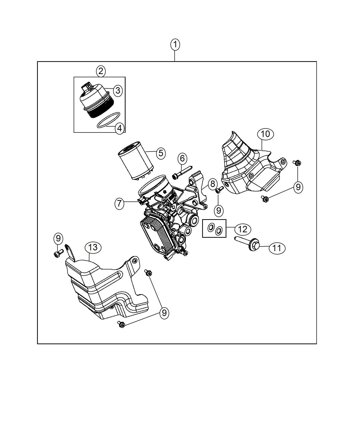 2016 jeep renegade o ring  oil filter cap  engine  cooler  housing