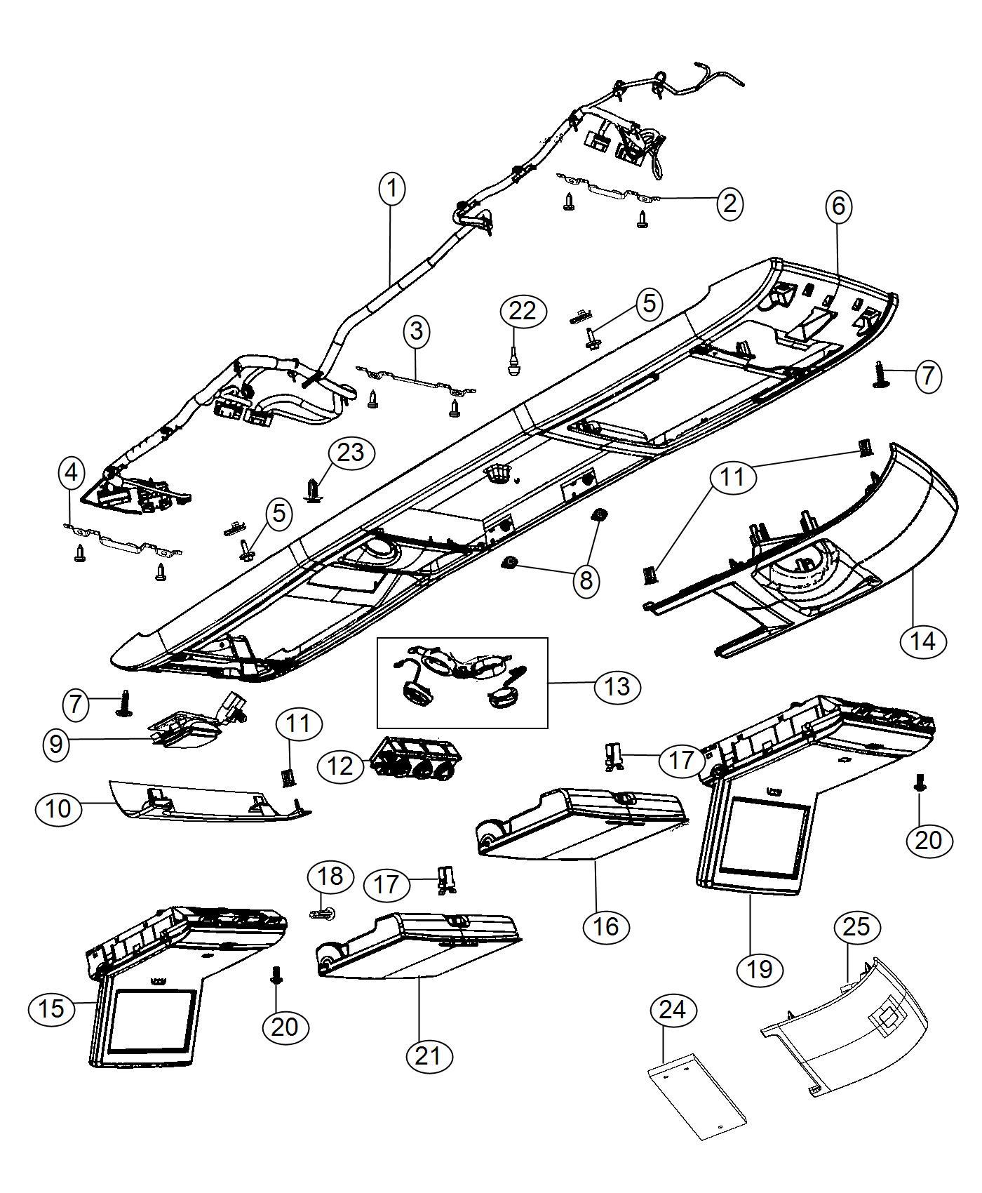 2014 dodge grand caravan cover  overhead console   ll