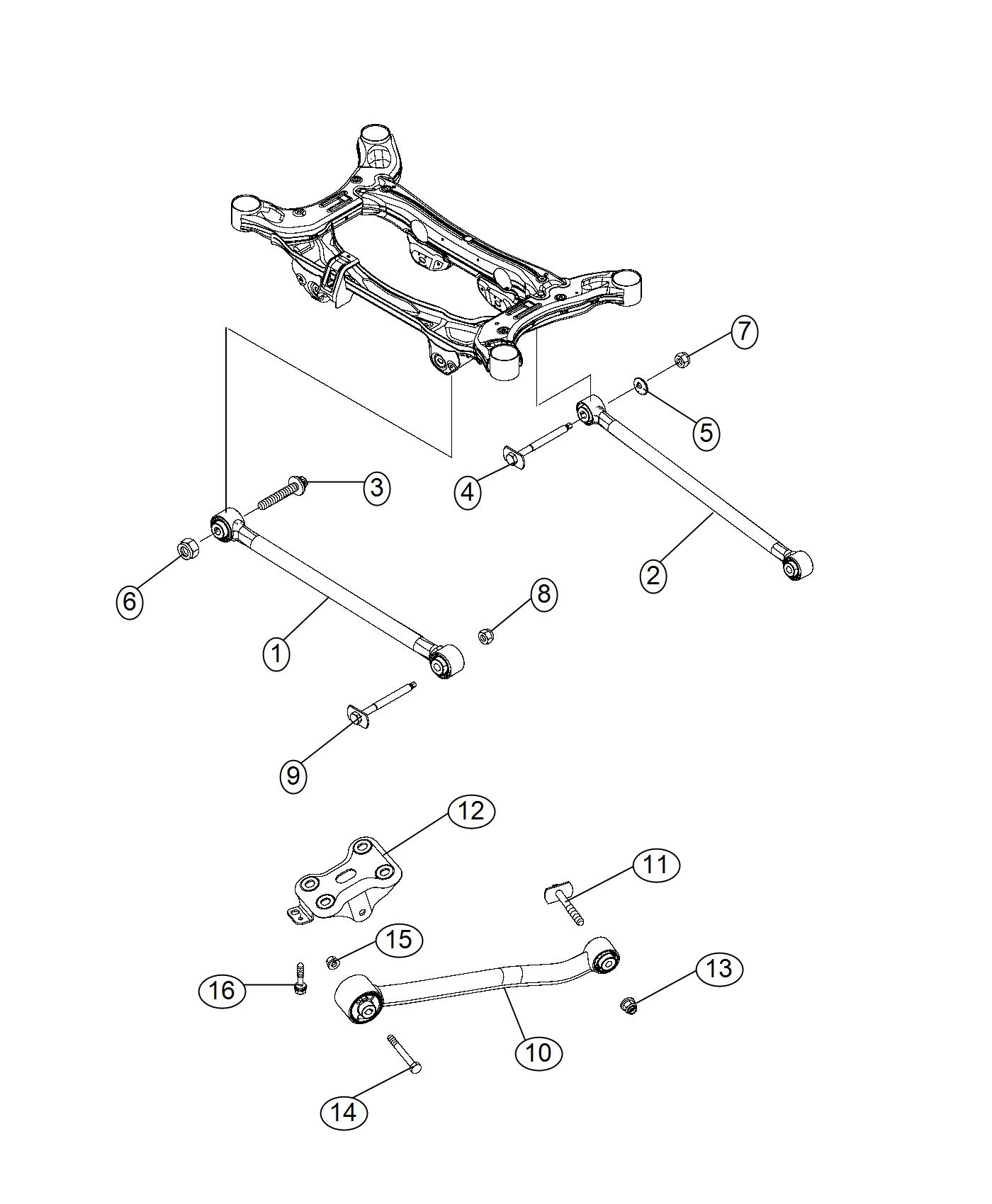 Fiat 500x Guide Rod  Suspension  Rear  Mopar  Links