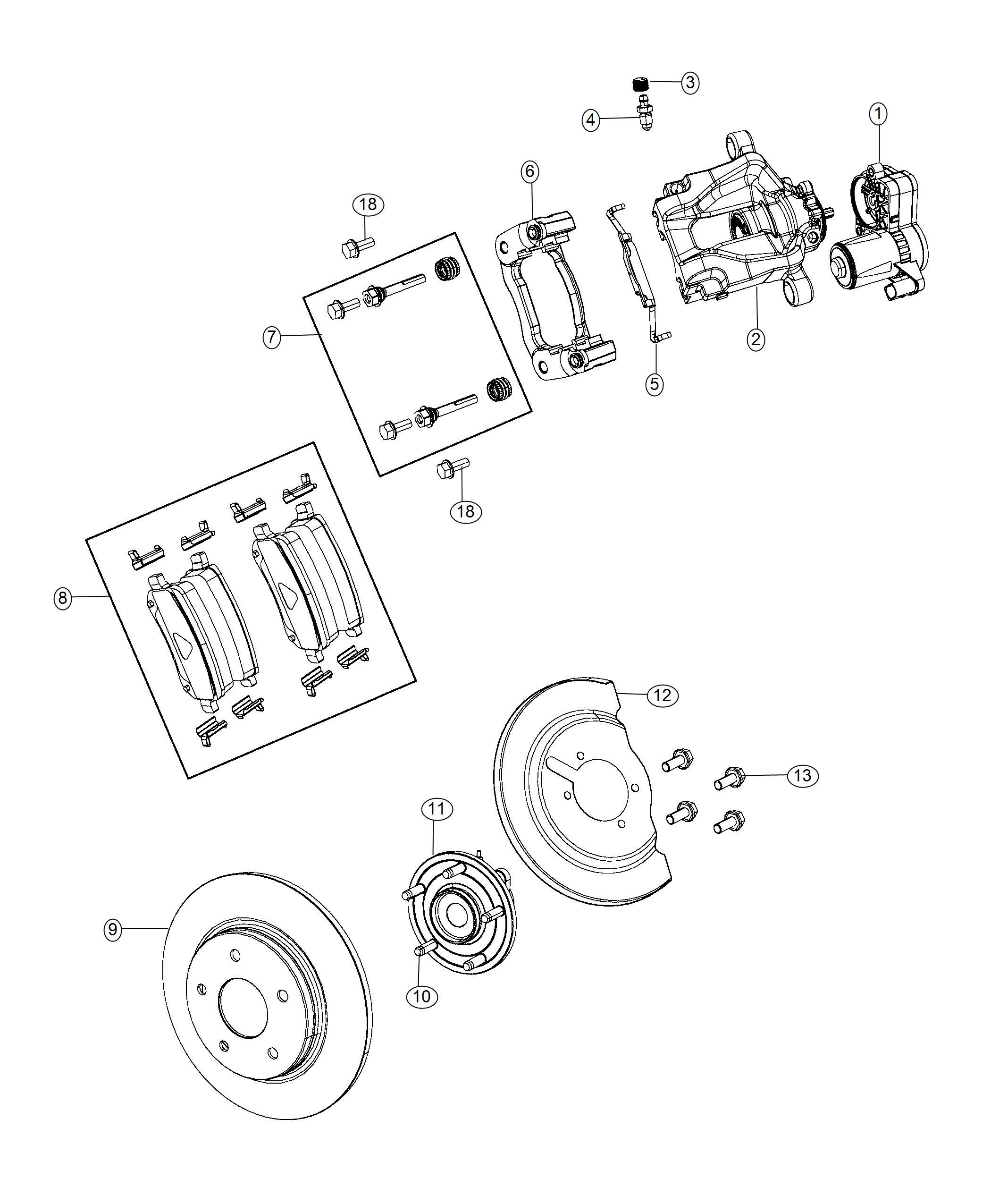 2018 Chrysler Pacifica Caliper Assembly  Disc Brake  Rear