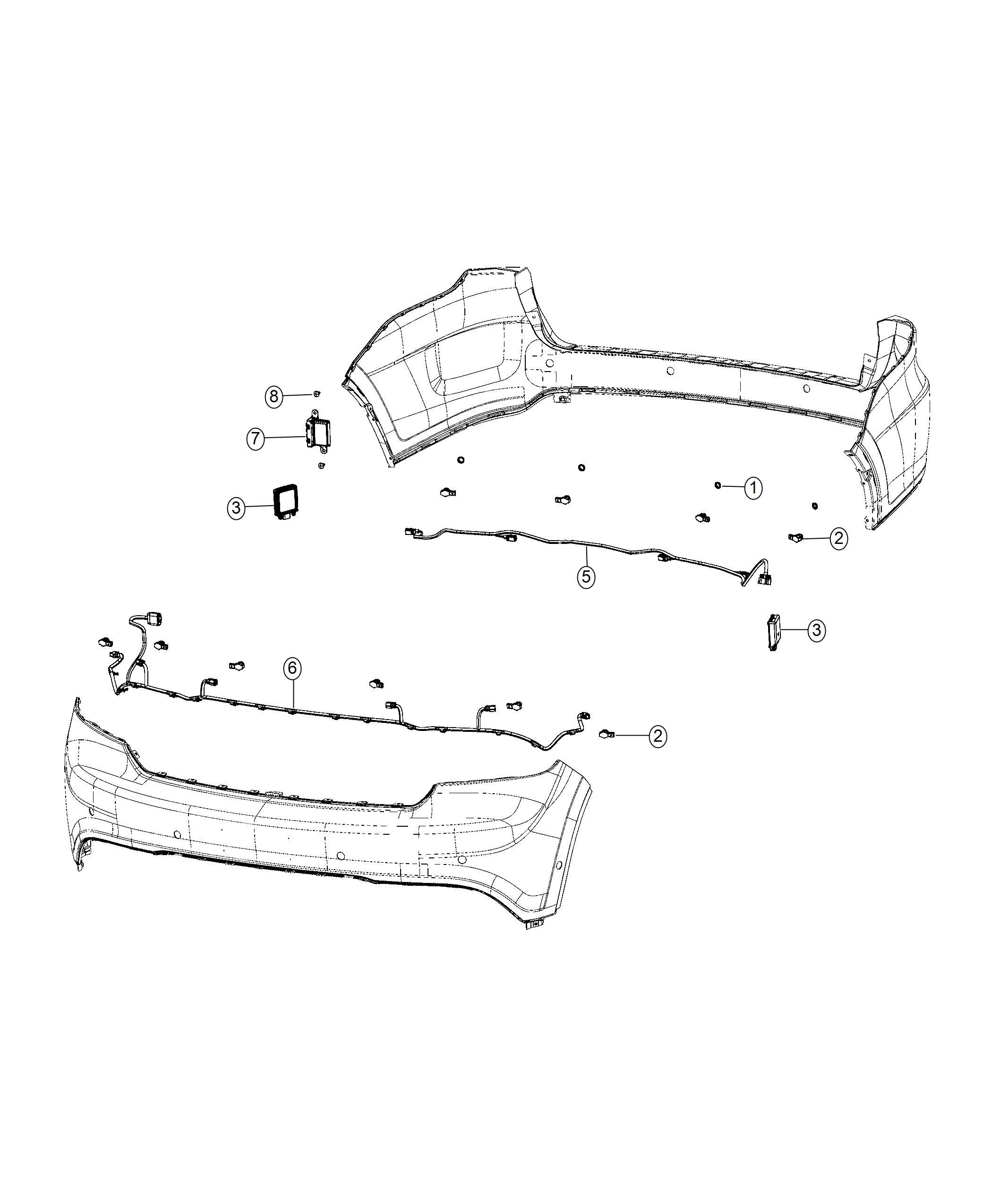 dodge durango sensor  blind spot detection   rear fascias parts module    side blind