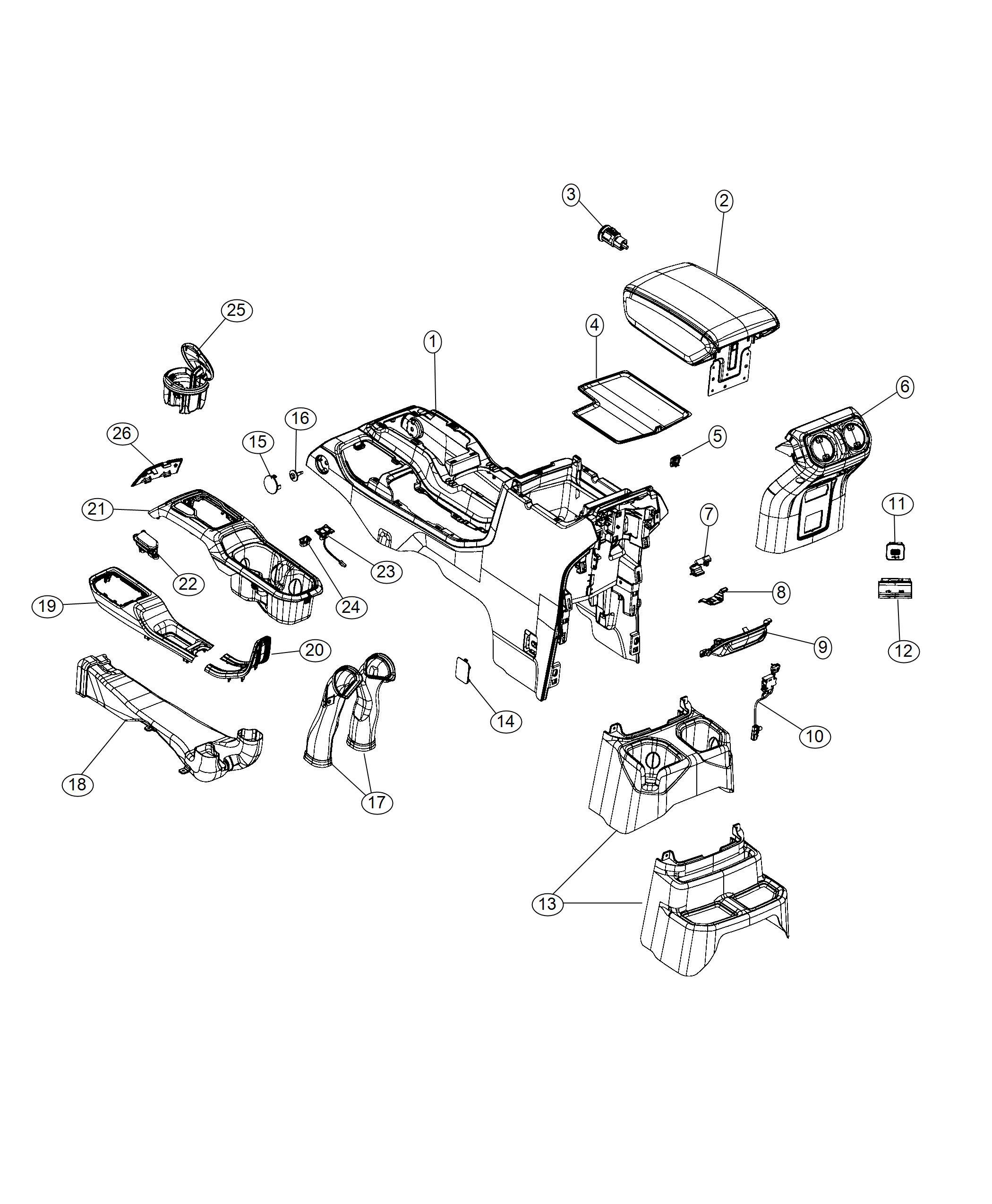 jeep wrangler lamp  courtesy   center console parts module    console bin task light