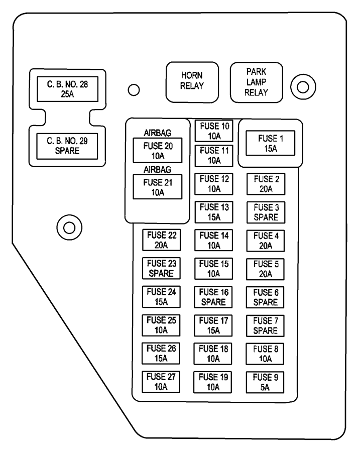 dodge dakota junction block  relay  fuses  instrument