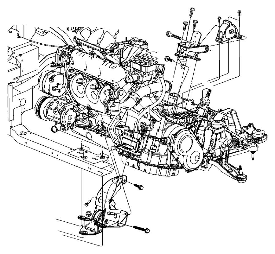 2002 Chrysler Voyager Support. Transmission. Rear. Front