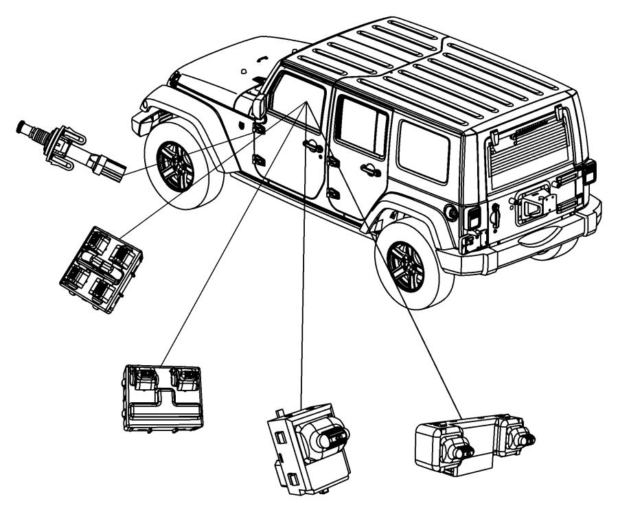 2008 jeep wrangler switch  door lock  trim   all trim