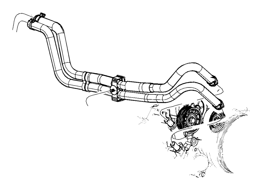 2008 Jeep Grand Cherokee Hose  Used For  Heater Supply And Return  Without  Rear Air