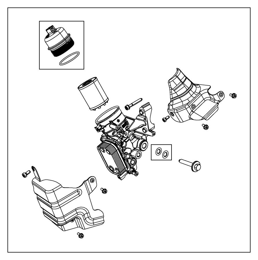 dodge dart gasket  engine oil cooler  housing  filter  eaf
