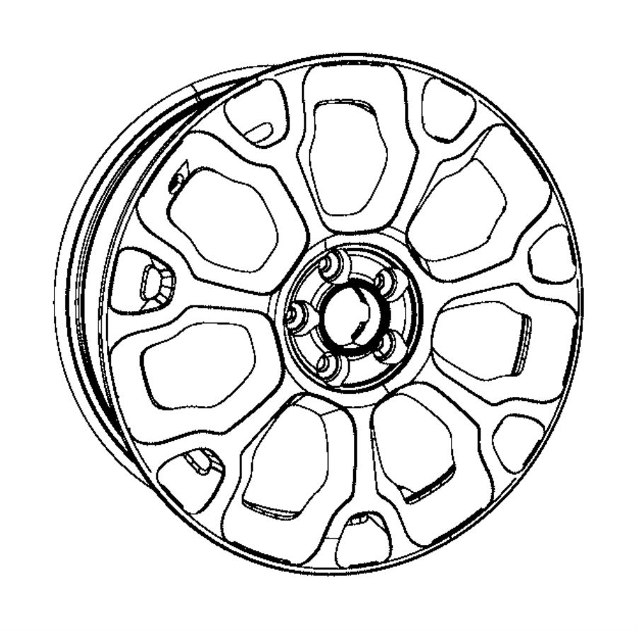 2016 fiat 500l wheel  aluminum  front or rear  trim   no